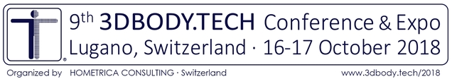 3DBODY.TECH 2018 - 9th International Conference on 3D Body Scanning and Processing Technologies, 16-17 October 2018, Lugano, Switzerland, Organized by Hometrica Consulting - Dr. Nicola D'Apuzzo, Switzerland